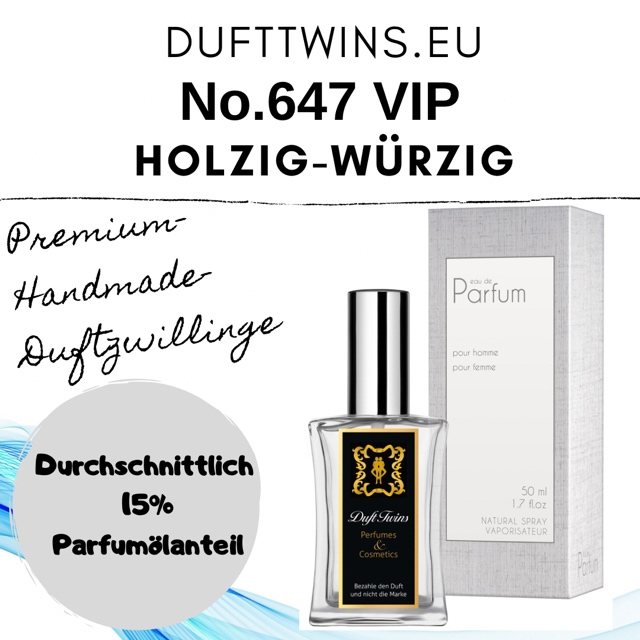Bild zum Artikel Eau de Parfum VIP fr Damen und Herren Unisex - No.647 - Holzig Wrzig Orientalisch S