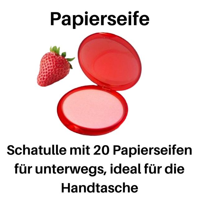 Bild zum Artikel: Schatulle mit 20 Papierseifen /Seife, ideal für unterwegs Erdbeere / Strawberry