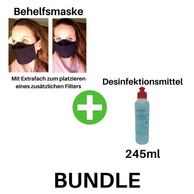 Bild zum Artikel: Waschbare Behelfsmaske /Community-Maske mit Extrafach für Filter + 245ml Handdesinfektionsmittel