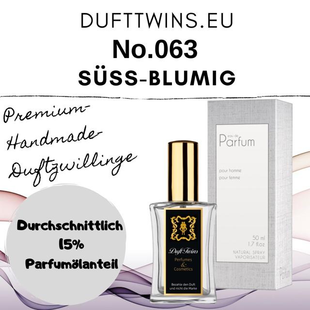 Bild zum Artikel: Eau de Parfum für Damen und Herren (Unisex) - No.063 - Süß Blumig Cremig Pudrig