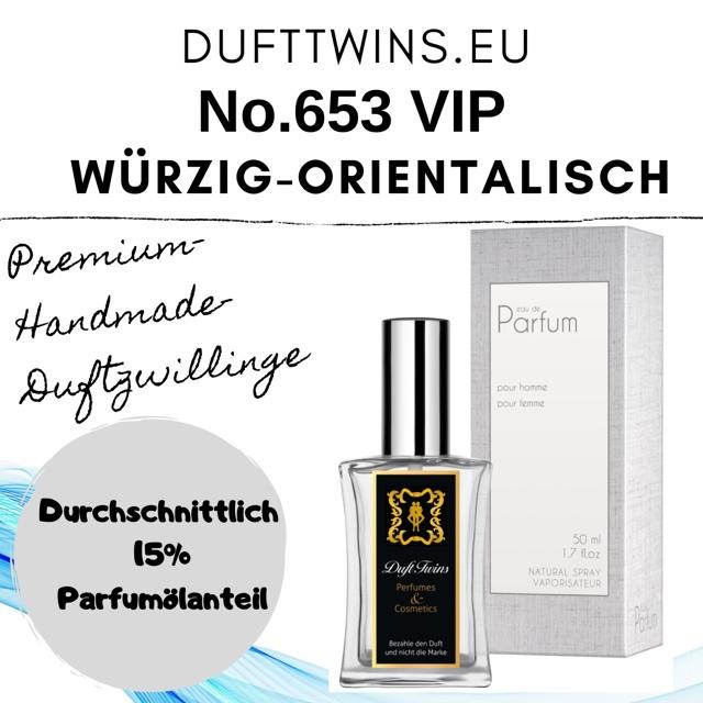 Bild zum Artikel: Eau de Parfum für Herren - No.653 VIP - Würzig Orientalisch Holzig Pudrig Ledrig Süß