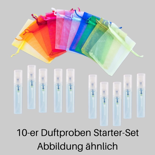 Bild zum Artikel: 10 Duftzwilling-Duftproben-Starter-Set a 1,5ml Minizerstäuber (Mix) für Damen und Herren (Unisex) im Organza-Beutel